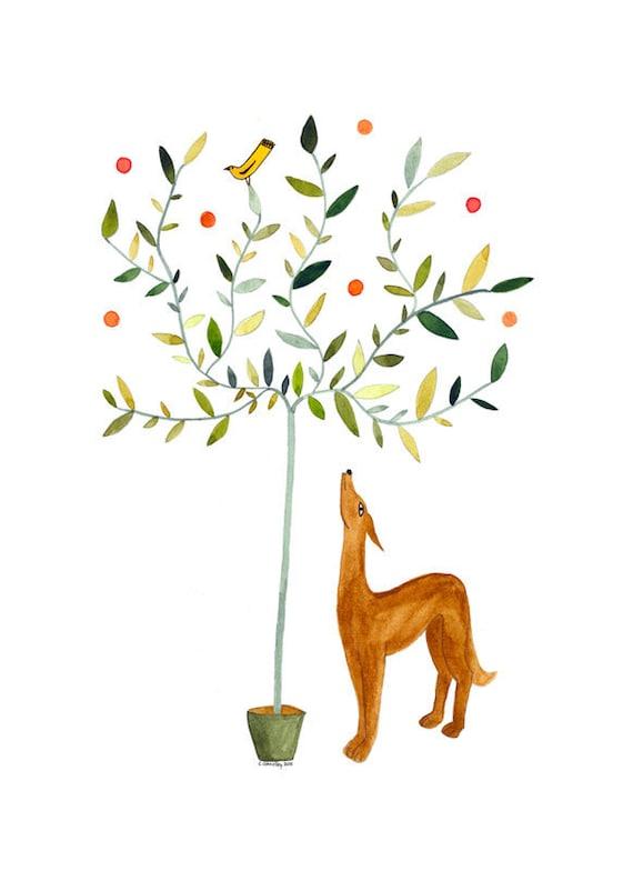 Original Watercolour Painting Original Illustration Art Dog Bird Tree Green Brown Gold Narrative Art