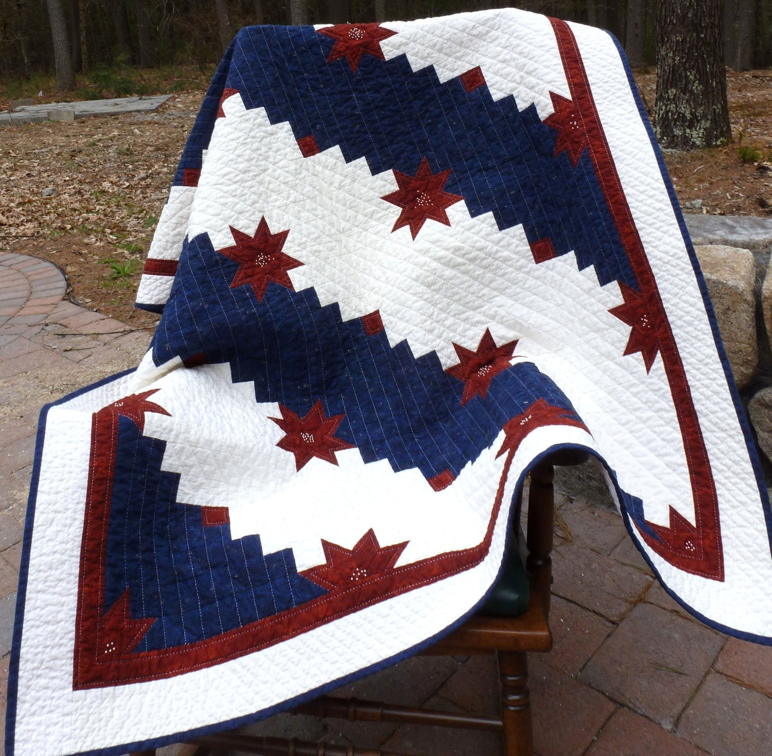 Americana Red White And Blue Lap Quilt Hand Quilted 45 X 59