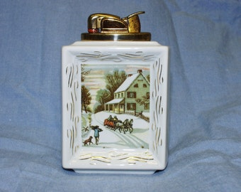 1950s RARE Evans Table Lighter Fine China Winter Scene FREE Shipping GREAT Condition