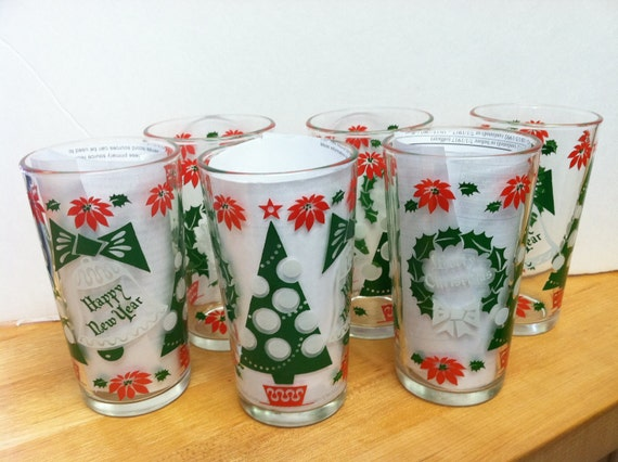 Vintage Happy New Year and Merry Christmas Glasses