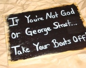 "Handmade Wooden Funny Country Cowgirl ""BOOTS OFF"" Quote Saying Wall Art Sign, Room Decor"
