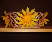 Beautiful Bright Yellow Flower Summer Theme Wicker Basket Home Decor - Great for Storage