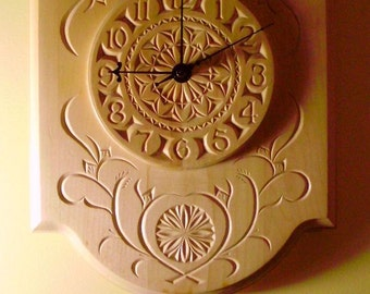 Beautiful chip-carved pendulum clock