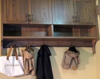 Entryway barnwood cabinet with coat rack