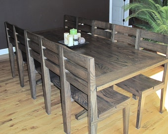 Handcrafted Solid Oak Dining Table Solid Oak - Custom Furniture