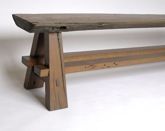 Rustic Barnwood Oak Slab Bench