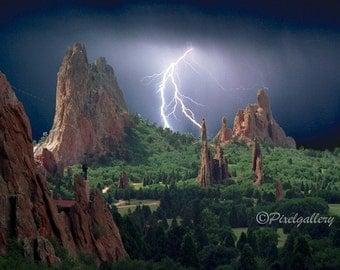 Lightning Strikes the Garden of the Gods - Colorado Springs, Colorado 8x12 Fine Art Giclee Print