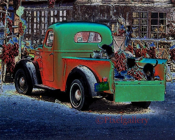 Vintage Red Truck at Old Pepper Market Solarize - 8 x 10 Giclee Print