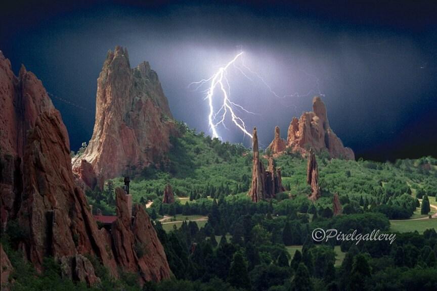 Lightning Strikes The Garden Of The Gods Colorado Springs