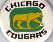 Chicago Cougars- Hockey Memorabilia- 1970s Vintage Pinback Button