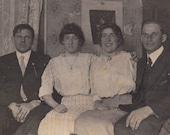 Four Friends- One Creepy Stare- 1910s Vintage Photograph