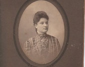 Edwardian Fashions- Woman in Plaid Blouse- 1900s Vintage Cabinet Photograph
