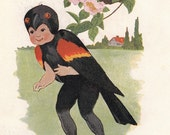 1912 Red Winged BlackBird/ Quail- Vintage Bird Children Illustration- Print