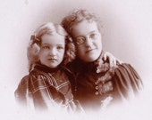 Mother and Daughter- Victorian Portrait- 1800s Vintage Cabinet Photograph