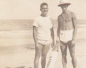 Very Big Package- Men at the Beach- 1940s Vintage Photograph