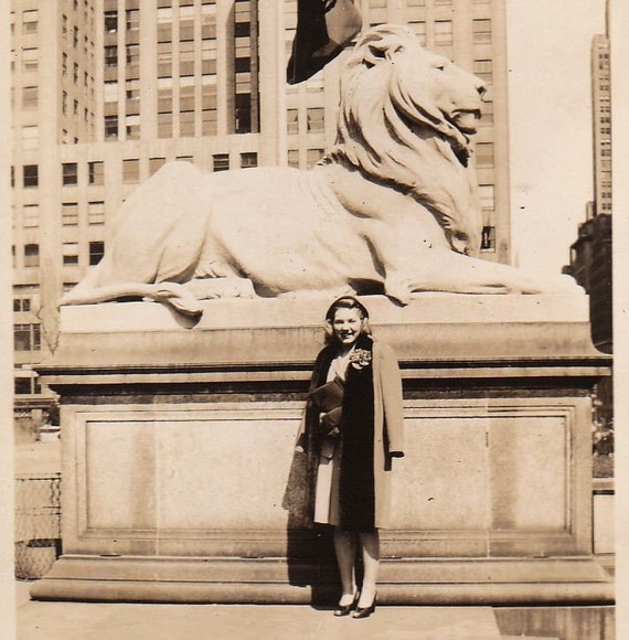 No Lying, Laying Lion Statue- Vintage photo