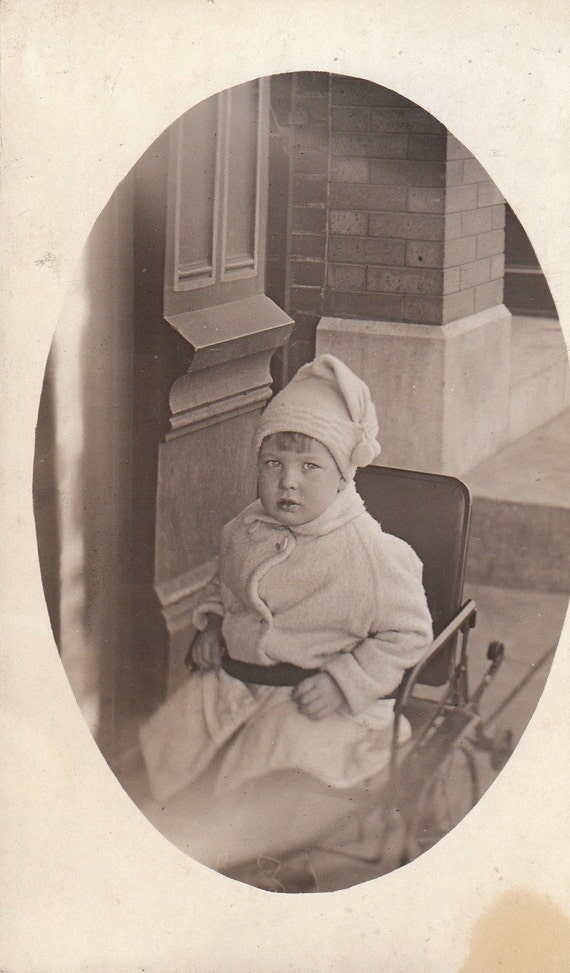 1910s Boy in a Wheelchair- Original Vintage Photo- RPPC