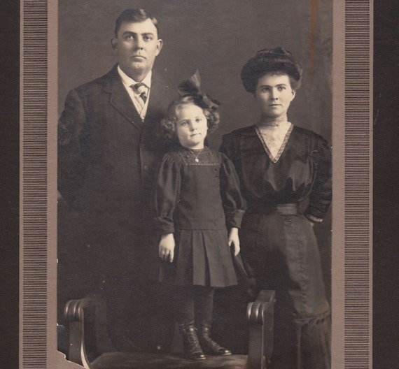1910s Family of Three- Vintage Portrait Photograph