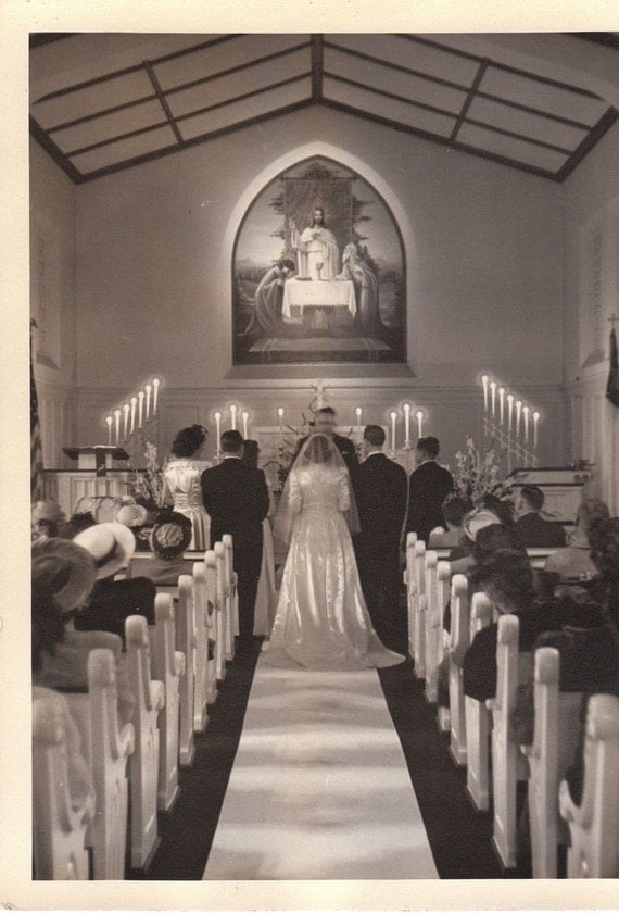 Beautiful Wedding Ceremony 1940s Vintage Photograph