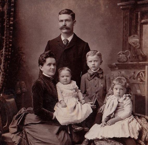 Prim And Proper Victorian Family Portrait 1800s Vintage