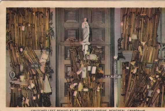 Crutches Left Behind at St. Joseph's Shrine- Montreal, Canada- 1930s Vintage Postcard- Used