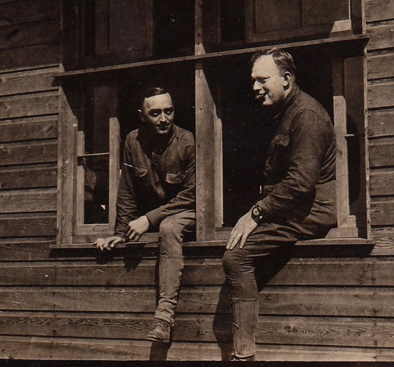 Soldiers in the Window- 1910-20s Vintage Photograph- RPPC