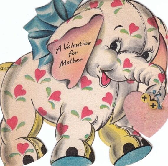 A Valentine for Mother Adorable Elephant 1946 Vintage Card