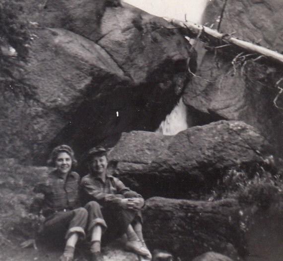 Ouzel Falls- Girlfriends on a Hike- 1942 Vintage Photograph
