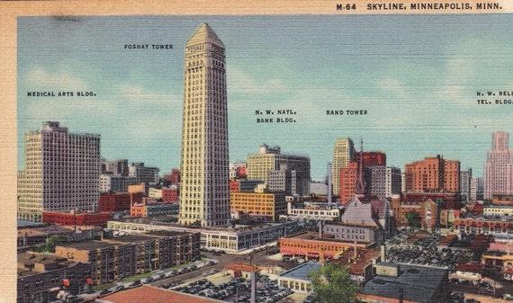 Minneapolis Skyline- Minnesota Souvenir- 1940s Vintage Postcard- Unused