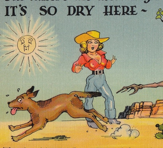 Out Where the West Begins- Its So Dry- Humor- 1940s Vintage Postcard- Unused