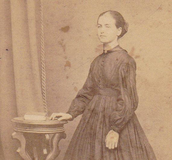 Young Victorian Woman- Book- 1800s Vintage Photograph- CDV