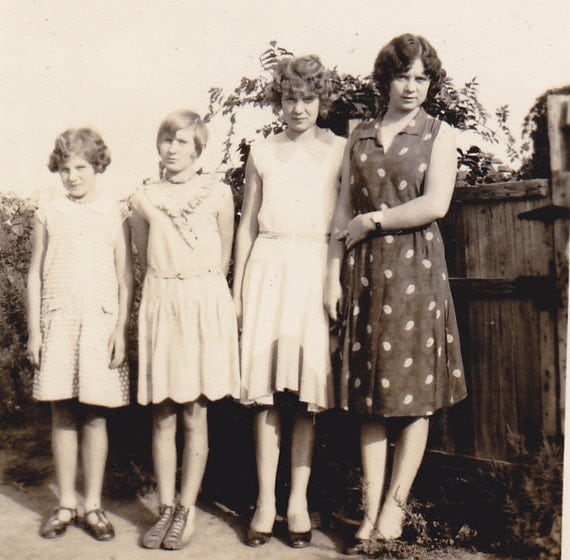 Mama and the Girls- Tomboy in a Dress- 1920s Vintage Photograph