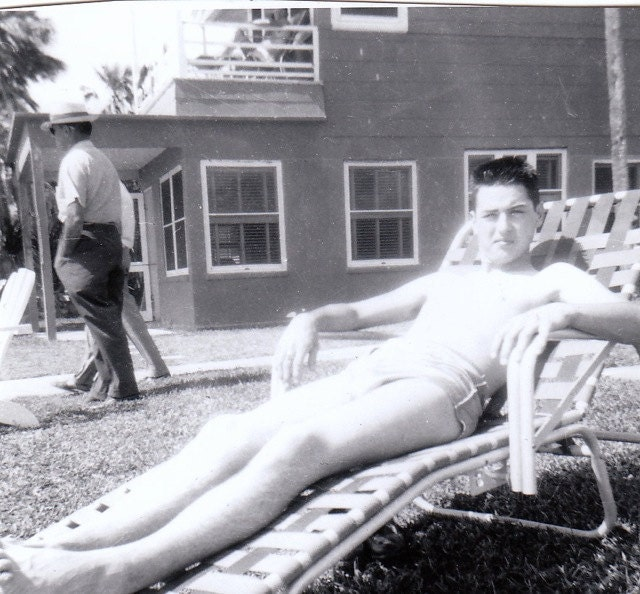 Sunning Boy In Lawn Chair 1950s Vintage Photograph