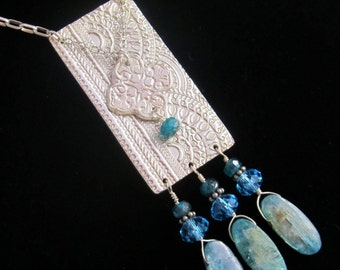 Fine Silver Necklace with Apatite and Kyanite Gemstone Beads