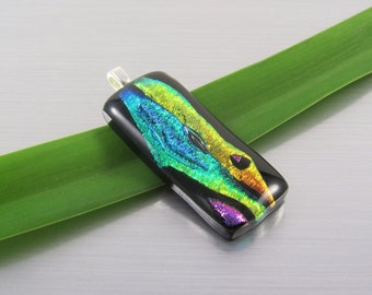 Dichroic Fused Glass Pendant - Gold and Green on Black