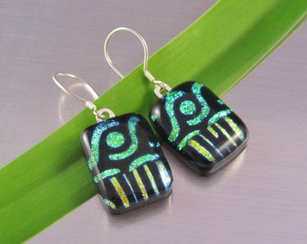 Dichroic Fused Glass Earrings - Gold and Lime Green Stripes and Dots