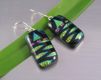 Dichroic Fused Glass Earrings - Gold and Lime on Black with Touches of Pink - Fused Glass Rectangle Drops - Black with Bold Accent Colors