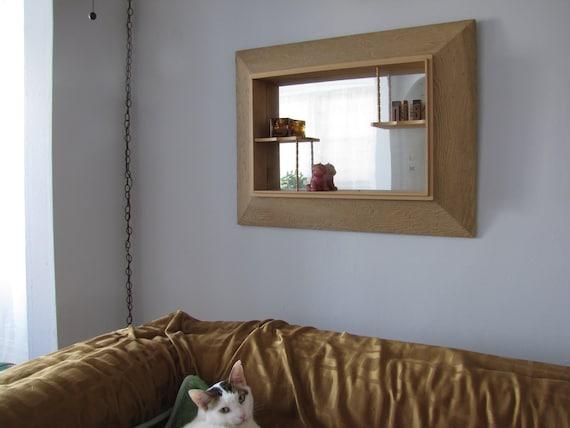 Mid century wooden mirrored curio cabinet