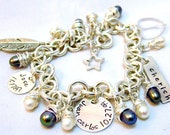 Mother Bracelet - Name Bracelets Two Sterling Silver small round disc - One Aluminum Tag - Metalwork Personalized Bracelet - Monogram