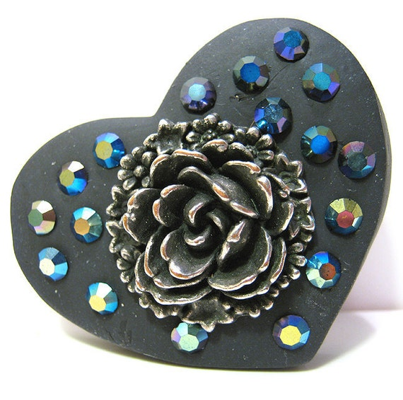 Black Heart Pin Brooch Polymer Clay AB Rhinestone Halloween
