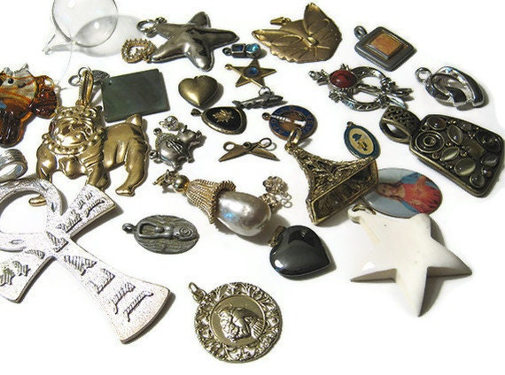 Pendant Charm Lot Mix 31 Pcs from Vintage to New