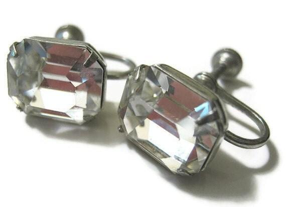 Vintage Screw Back Rhinestone Earrings
