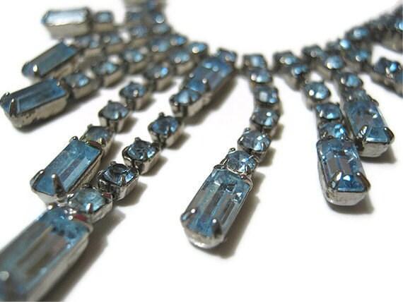 Vintage Adjustable Blue Rhinestone Necklace