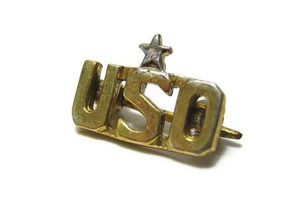 Small Vintage Gold Tone USO Pin