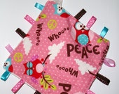 Peace owls newborn taggy blankie