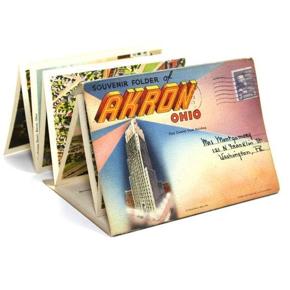 Akron Ohio Postcard Scenic Folder 1948