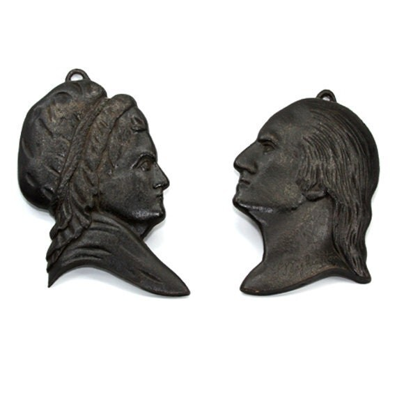 Cast Iron Trivets George and Martha Washington