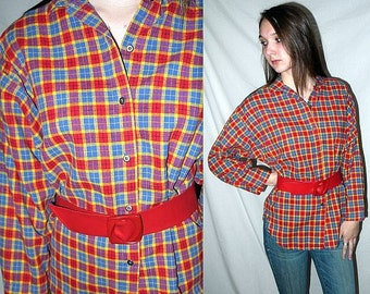 Detention with Mr Hand ... Vintage 80s plaid shirt / tumblr slouchy tunic / button up flannel blouse / batwing boxy .. S M L / bust 42