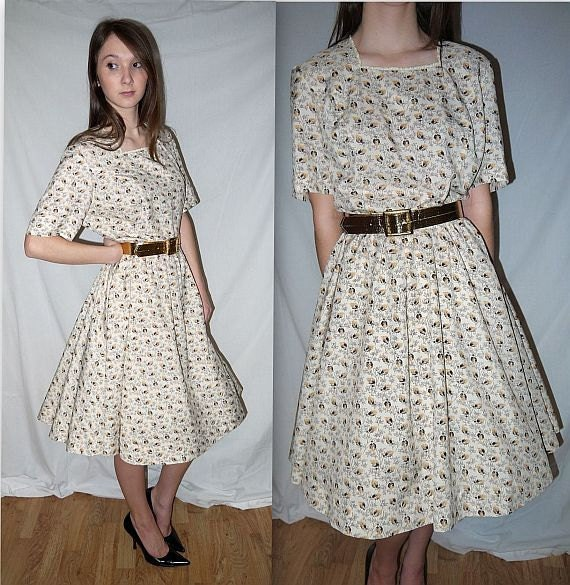 Adeline ... vintage 50s 60s day dress / full skirt / mad men / mid century / belted  .... L XL  / bust 44