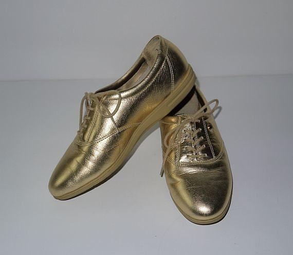 14K footsie ... vintage 80s metallic gold oxfords shoes / tie lace up